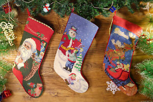 Hand-Stitched-Needlepoint-Christmas-Stocking-Busy-Happy-Santa-Clause-Deers