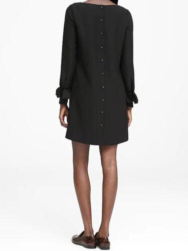 4 NWT Banana Republic $129 Women Black Ruffle-Cuff Button-Back Dress 0P 12