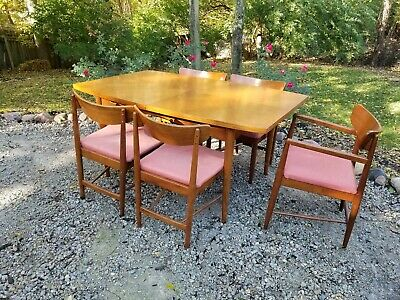 American Of Martinsville Dania Mid Century Modern Walnut Dining Table 5 Chairs Ebay