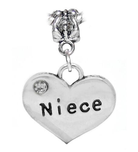Niece Heart Clear Rhinestone Aunt Uncle Gift Dangle Charm for European Bracelets