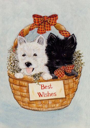 WESTIE SCOTTISH TERRIER IN BASKET SINGLE DOG PRINT GREETING CHRISTMAS CARD