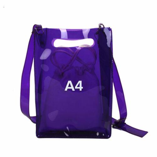 Women Transparent Handbag Shoulder Bag Messenger Bag with Adjustable LI