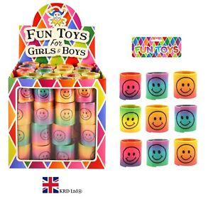 cm Party Bag Filler Xmas Gift 3.5 Slinky Smiley Face 24xMini Rainbow Spring Toy