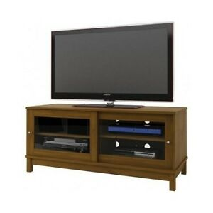 Tv entertainment center cherry media console storage stand for Media and tv storage furniture