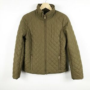 J-Crew-Womens-Quilted-Jacket-Olive-Green-Size-Small