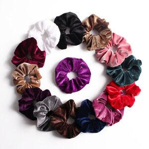 Women-Solid-Color-Velvet-Elastic-Hair-Rope-Hair-Ties-Scrunchies-Ponytail-Holder