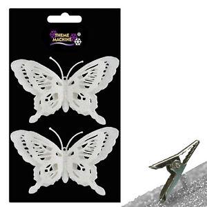 Noël-Lot de 4 Clip On Glitter Papillon Décorations pour arbres-Choisir Couleur