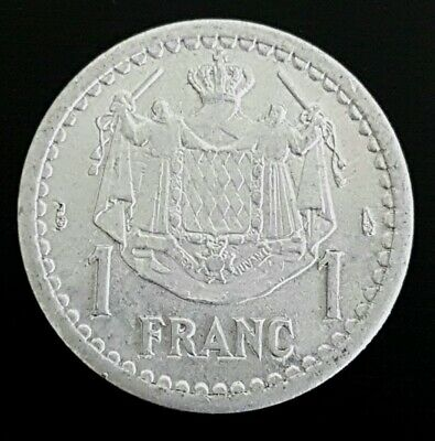 1 Coin Only 14 Available! Monaco 2 Franc Circulated 1944