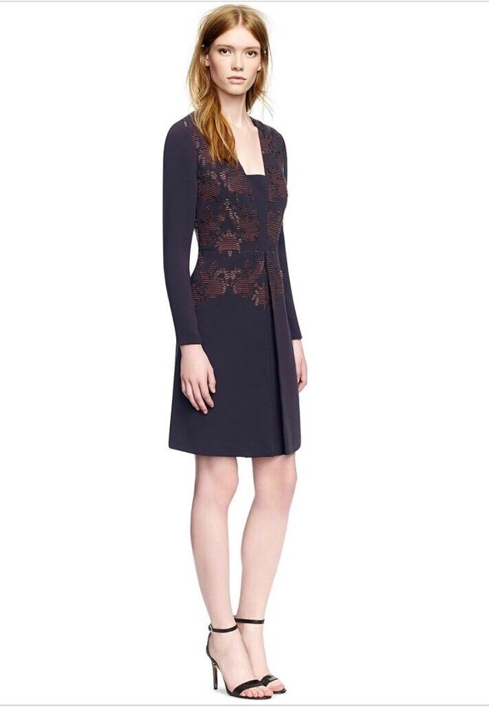 TORY BURCH Connie Navy Navy Navy Embroidered Beaded Ingreened Pleat Dress  795 Sz 0 35d888