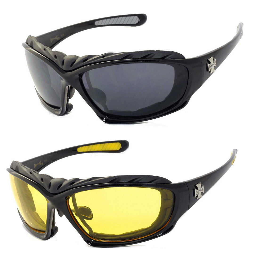 071d8fc5c8 Details about 2 PAIRS COMBO Chopper Padded Wind Resistant Sunglasses  Motorcycle Riding Glasses