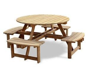 Teak Round Picnic Bench M Pub Garden Patio Outdoor Park Table - 8 seater round picnic table