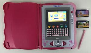 VReader-Learning-Handheld-Tablet-System-with-2-Game-Cartridges-Lot-Tested-Vtech
