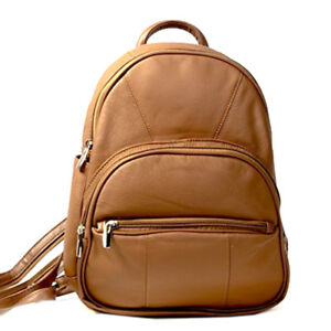SILVERFEVER-Leather-Round-Top-Backpack-top-Handle-Organizer-Bag-Light-Brown