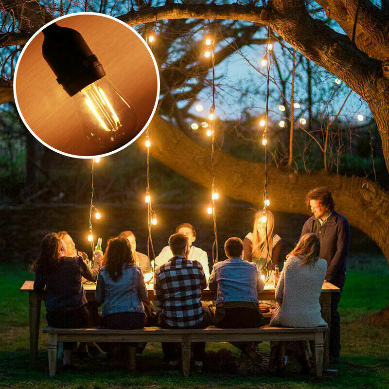 15m LED Lichterkette mit 15 E27 Glühbirne Birne Leuchtmittel WiFi-Steuerung IP65