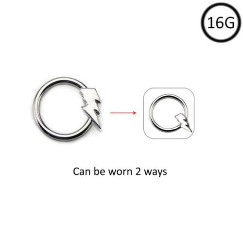 Surgical Steel Nose Hoop Omni Bead Ring Bolt Daith Ear Cartilage 16 Gauge 16G