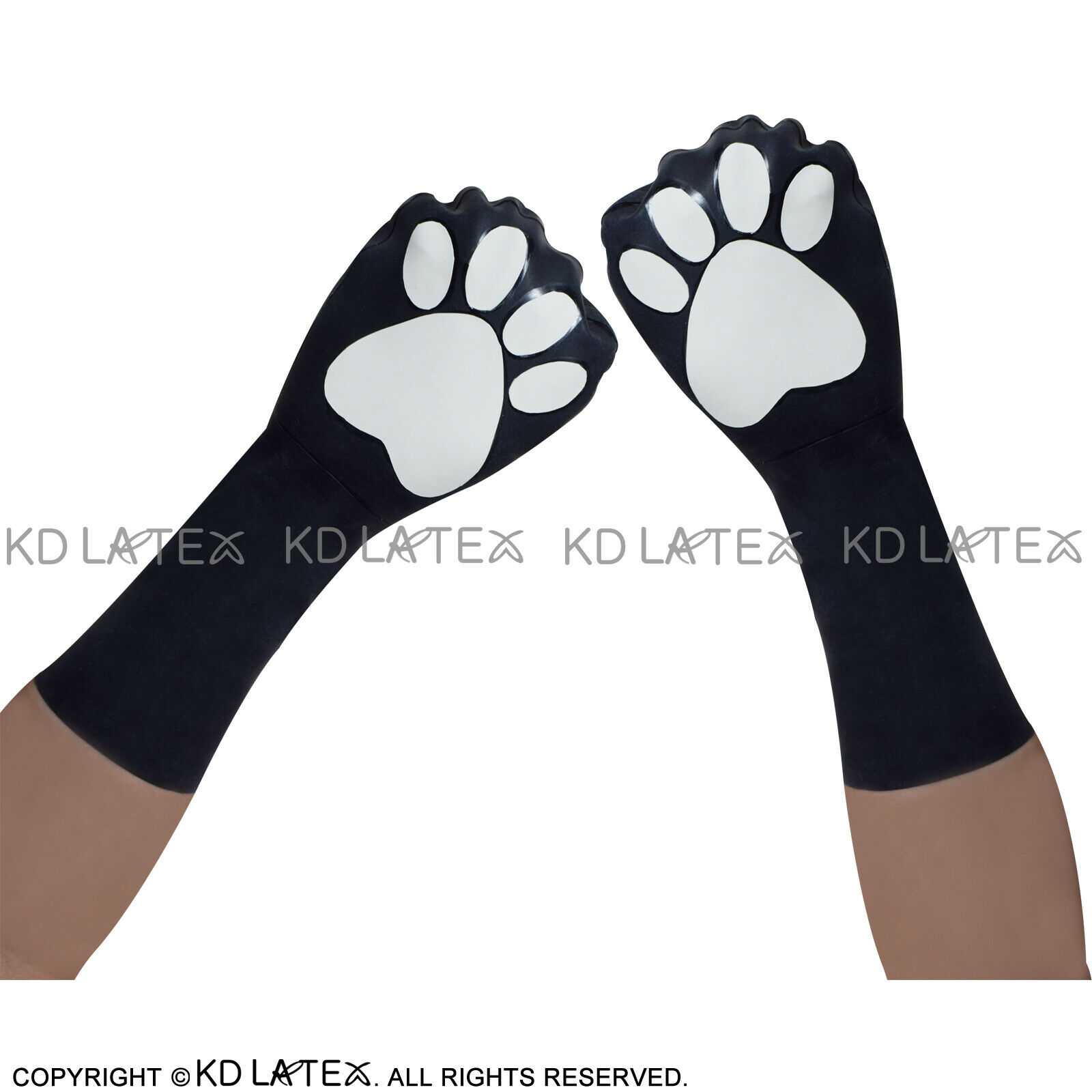 Black And White Footprint Cat Animal Sexy Short Latex Gloves Rubber Mitts Mitten