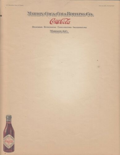 THE MARION COCA-COLA BOTTLING CO LETTERHEAD UNUSED NOT DATED 1910-1919