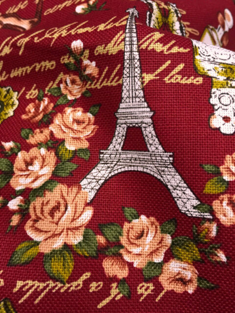 "BURGUNDY RED PARIS Eiffel Tower 100% COTTON FABRIC LINEN LOOK 44""W BTY"