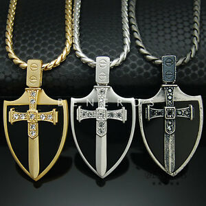 a432e4092be Image is loading Sword-Onyx-Shield-Pendant-Chain-Necklace-Gold-Silver-