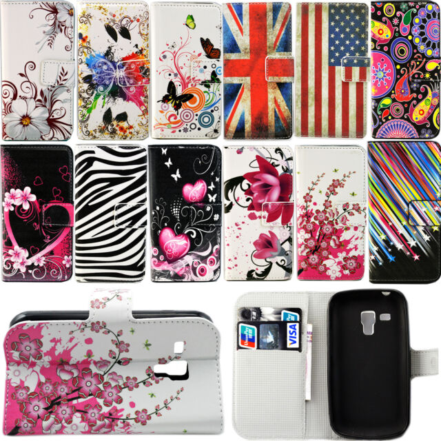 Flip Magnetic Stand PU Leather Card Pouch Case For Samsung Galaxy S Duos S7562