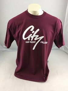 Vintage-San-Diego-City-College-T-Shirt-Made-In-USA-Maroon-Puffy-90s-XL