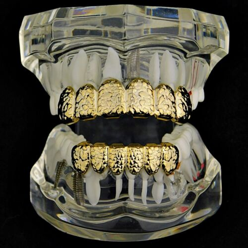 Nugget Grillz Set 14k Gold Plated Top /& Bottom Teeth 12 PC Hip Hop Mouth Grills