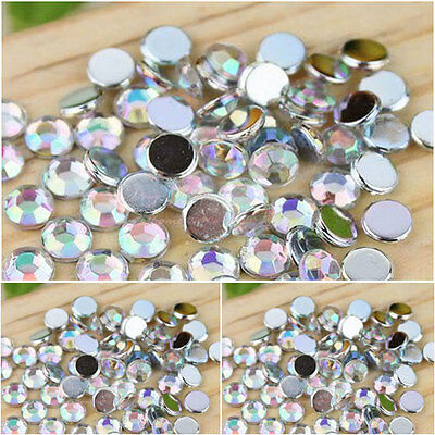 Clear AB flat back round diamante rhinestone gems-nail art/cards/Scrapbooking