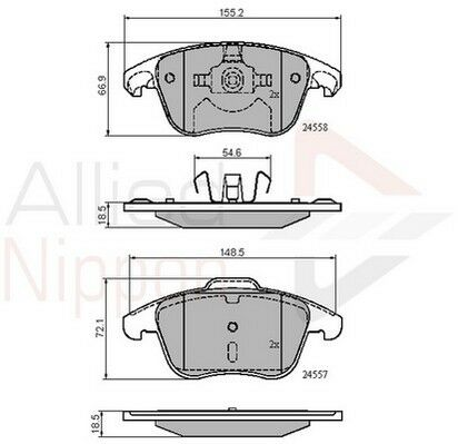 5 YEAR WARRANTY BRAND NEW Allied Nippon Front Brake Pad Set ADB01720