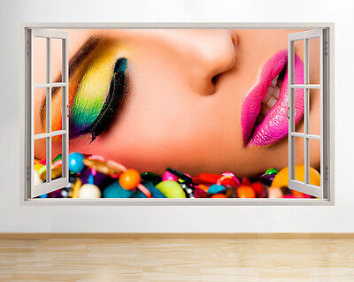 Wall Stickers Make-Up Colourful Beauty Salon Window Decal 3D Art Vinyl Room C233