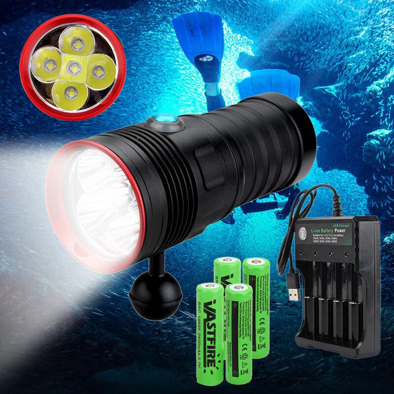 Profi Fotografie Video 20000LM 5x L2 LED IPX8 Tauche Tauchlampe Licht bis 200m R