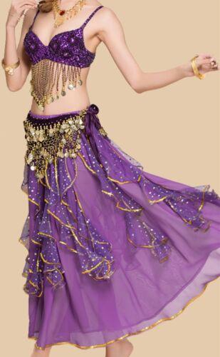 Belt or Shinny Full skirt Belly Dance Costumes Bollywood Dress Sets B cup Bra
