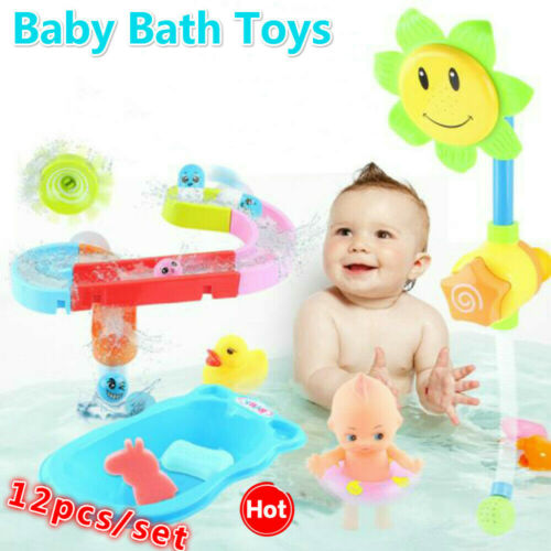 12pcs//set Funny Suction Cup Orbits Baby Bath Toys Kid Bathroom Sprinkling Slides