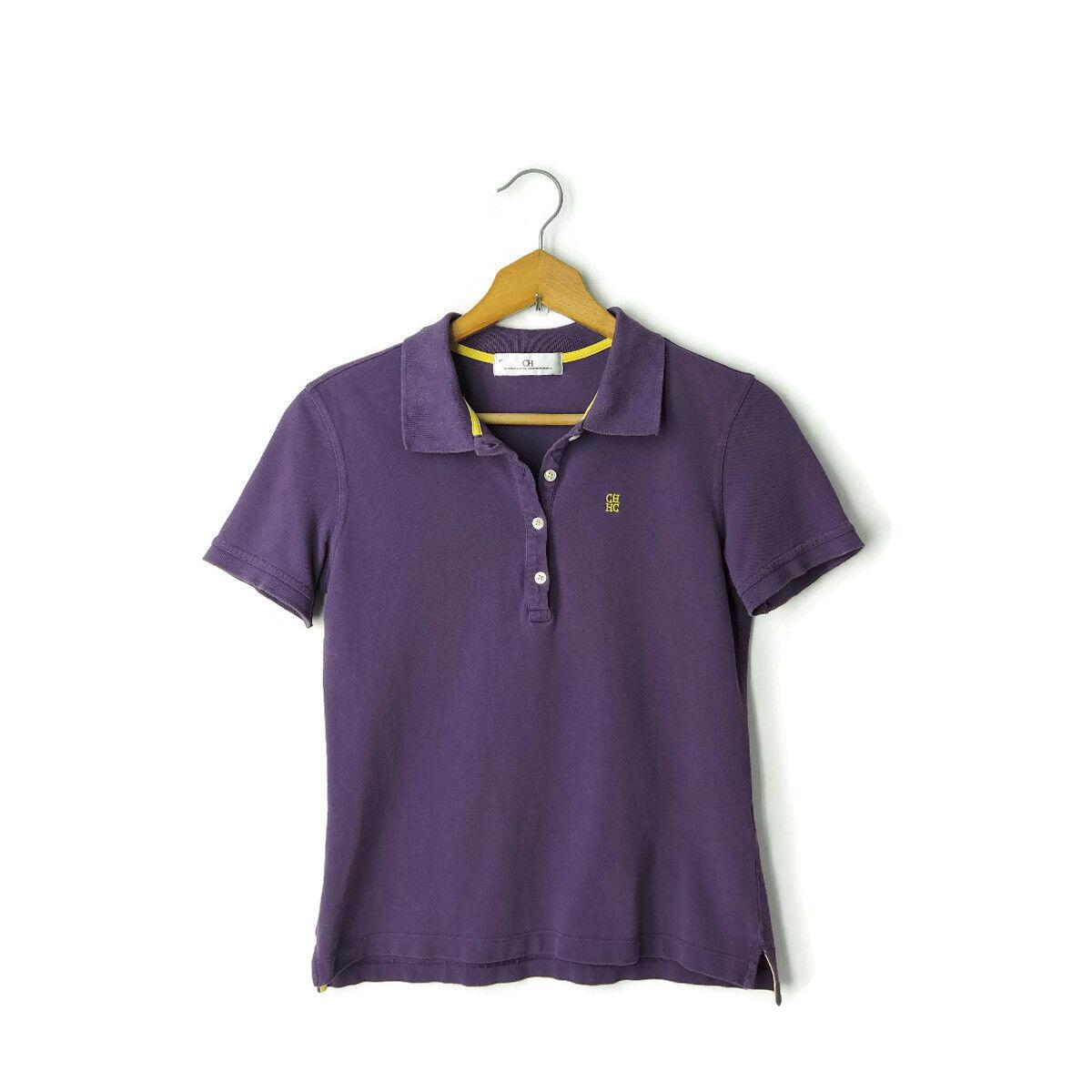 Carolina Herrera CH damen polo shirt top Größe M lila logo embroiderot