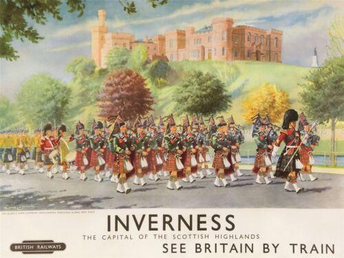 TRAVEL INVERNESS BRITISH RAILWAYS SCOTLAND HIGHLANDERS ART POSTER PRINT LV4046