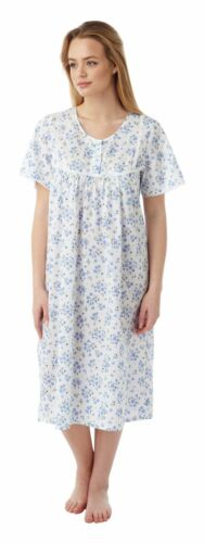 Ladies Short Sleeve Floral Poly Cotton Nightdress By Marlon sizes 10-30 MN11