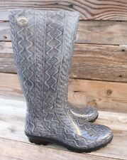UGG Australia Womens Shaye Cable Knit Grey Classic Rain Mud Boots US 6 UK 4.5