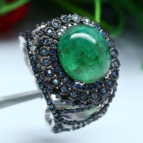 Details about  /NATURAL 14 X 12 mm CABOCHON GREEN EMERALD /& BLUE SAPPHIRE RING 925 SILVER