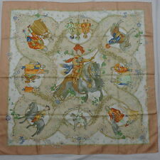 """Auth HERMES """"Les Petits Princes"""" by Catherine Baschet Beige Silk Scarf 3309"""