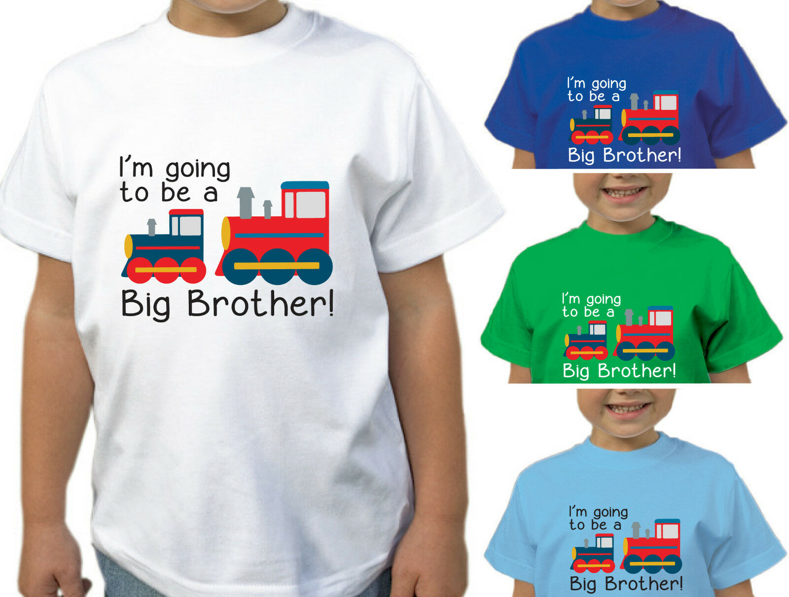 I/'M GOING TO BE A BIG BROTHER BOYS TRAIN T-SHIRT CHILDRENS KIDS T SHIRT TOP GIFT