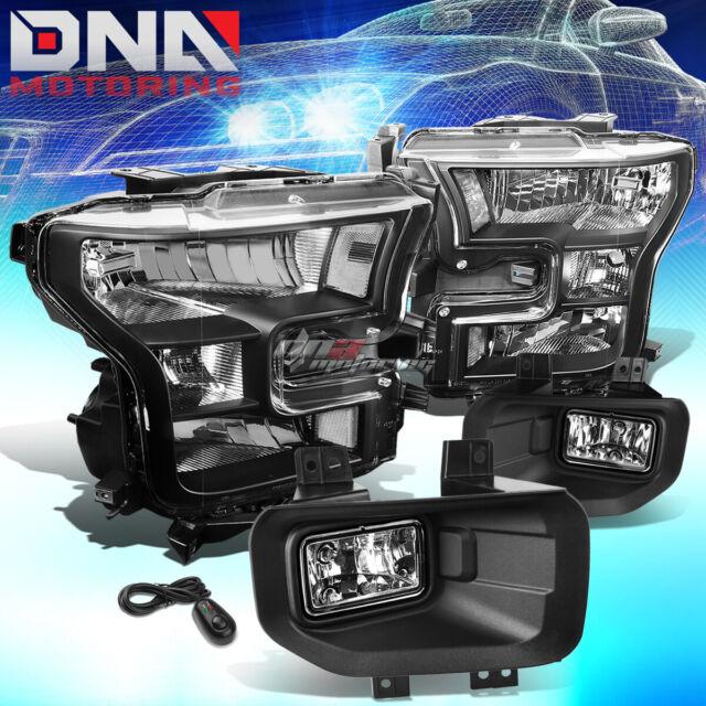 Black Housing Clear Side Headlight Chrome Fog Light Switch