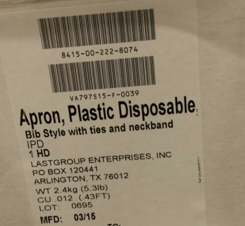 Ties /& Neckband New case of 100 Disposable Plastic extra tick Apron Bib Style w