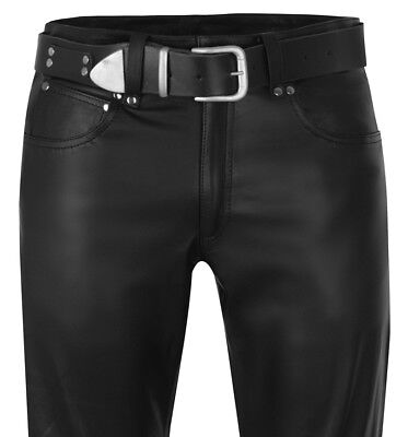 Fornitura Lederhose W38 Pelle Nera Jeans 54 Uomo Nuovi Leather Trousers Pants 38 Cuir-