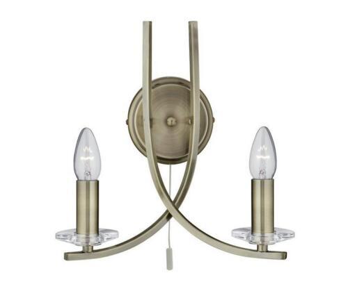 4162-2AB Ascona 2 Light Candle Sconce ANTIQUE BRASS 28cm H x 32cm W x 16cm D