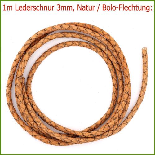 Bolo-Flechtung! 1m Lederschnur Lederband 3mm HELLBRAUN NATUR