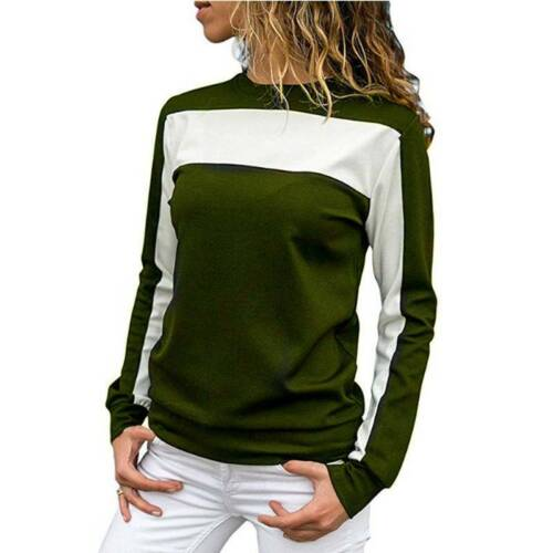 Damen Farbblock Bluse Langarm T-Shirt Freizeit Tunika Blusenshirt Oberteile Tops