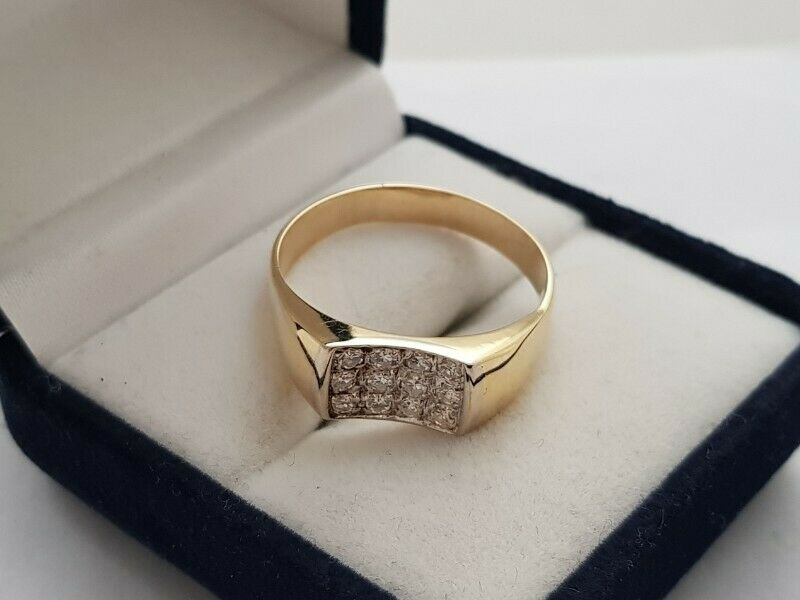 A262 14k Gold Indent Diamond Ring