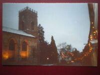 POSTCARD BUCKINGHAMSHIRE XMAS LIGHTS AT STONY STRATFORD CHURCH