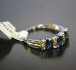 10k-White-Gold-Ring-Marquee-Saphires-Alternating-Rows-Diamonds-NEW-Size-6-5