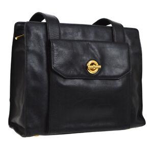 f9c793c179b2 Authentic CELINE Logos Shoulder Bag Black Gold Leather Vintage Italy ...