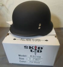 Skid Lid KS750 Flat Black Small Half Motorcycle Helmet German WWII Style DOT